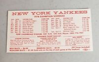 New York Yankees 1978 Exhibition Schedule Fort Lauderdale MINT FREE SHIPPING