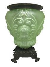 Antique Art Nouveau Uranium Vaseline Glass Figural Oil Kerosene lamp font base