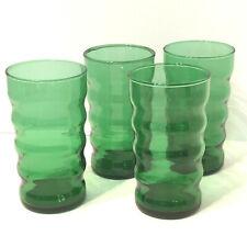 Vtg Christmas Emerald Green Glasses Tumblers Ribbed