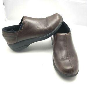Crocs Chelsea Work Shoes Brown Leather Slip On Shoe Women's Size 9 12936