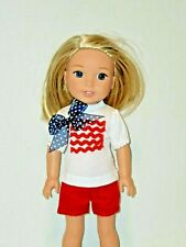 """Red White Blue Short Set Fits Wellie Wishers 14.5"""" American Girl Clothes"""