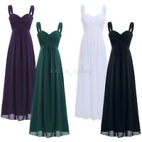 Women Lady Chiffon Pleated Dress Evening Party Ball Prom Gown Formal Maxi Dress