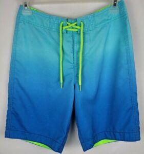 Hollister Mens Small Blue Ombre Drawstring Board Shorts Swim Trunks
