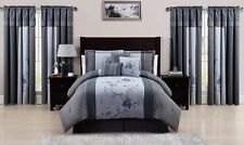 Chezmoi Collection 7-piece Embroidered Floral Comforter Set - Gray Blue