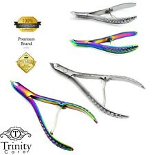 GERMAN Steel CURVED Cuticle Nipper Titanium Satin Cutter Remover Trimmer RRP 20