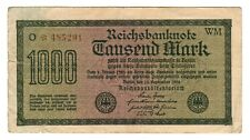 Germany - Weimar Republic 1922 - 1,000 Mark Reichsbanknote - # O*485201 WM