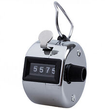 Silver stainless metal 4 Digit Number Clicker Golf Hand Tally Click Counter LW