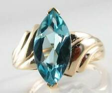 LARGE 9CT 9K GOLD ART DECO INS 14mm x7mm BLUE TOPAZ MARQUISE RING FREE SIZE