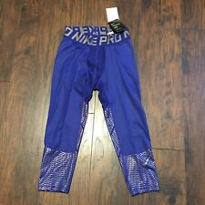 Nike Pro Combat Hypercool Compression Tights Lg Blue/Silver BNWT