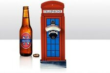 Bottle/Beer Bottle Opener ~ RED TELEPHONE BOX ~ Wall Mounted with Cap Catcher