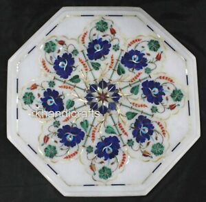 12 Inches Marble Bed Side Table Top Inlay Coffee Table with Lapis Lazuli Stone