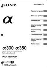 Sony DSLR Alpha A300 A350 Digital Camera User Guide Instruction  Manual