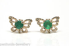 9ct Gold Emerald Butterfly stud Earrings Gift Boxed Made in UK