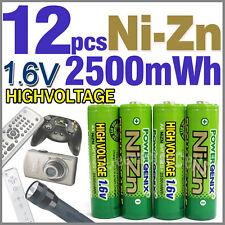 12 2500mWh 1.6V AA NiZn Rechargeable Battery PowerGenix