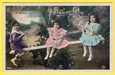 cpa FANTAISIE JEUX ENFANTS BALANÇOIRE Bonne Fête FANTASY Game Children Swing