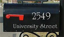 "2.5"" Mailbox Numbers SET OF 2 Numbers & 1.5"" Street Name Custom Mailbox Stickers"