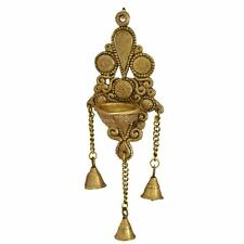 Brass Wall Hanging Deepak with Bells (11 Inch, Yellow and Brown)