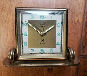 Vintage Renco Jewel Mid Century West Germany Art Deco Desk Clock Folding Alarm