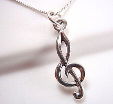 Small Treble Clef Pendant 925 Sterling Silver composer music musician song