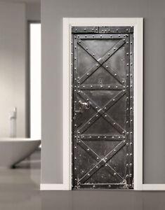 3D Vintage Iron Gate Self Adhesive Living Room Door Murals Wall Sticker Decal