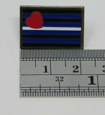 Lapel Pin 7/8 Size Free Ship Discounts! Gay Pride Leather Square Flag with Heart