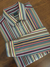 "Paul Smith London firma Stripe Multi Slim Fit Camisa 17.5"" Collar Bnwt"