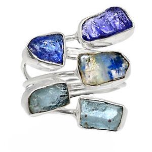 Aquamarine Rough & Tanzanite Crystal 925 Sterling Silver Ring s.8 BR91439