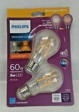 PHILIPS DIMMABLE LED SOFT WHITE FAN LIGHT BULB 8W LED 800 LUMENS  2-PACK NEW