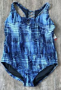 NEW SPEEDO NAVY BLUE KNOTTED CRISSCROSS ONE PIECE SWIMSUIT PLUS SIZE 20