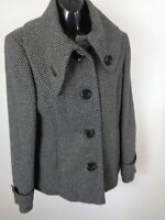 WOMENS DEBENHAMS CHARCOAL FORMAL BUTTON UP COAT JACKET OVERCOAT SIZE 10 SMALL