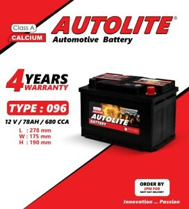 AUTOLITE 096 100 OEM REPLACEMENT CAR BATTERY 12V 78AH 4YRS WARRANTY