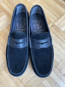 cole haan mens size 10.5 black suede and leather loafers
