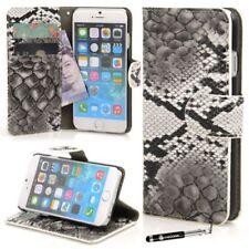 Fundas con tapa color principal gris de piel sintética para teléfonos móviles y PDAs