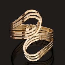 Fashion Vintage Gold Punk Bangle Cuff Distorted Wide Bracelet Wristband Jewelry