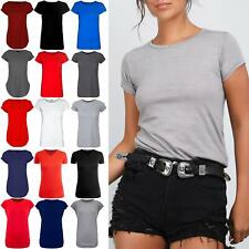 Womens Cap Sleeve Plain Ladies Basic Casual Round Neck Jersey Tee T shirt Top