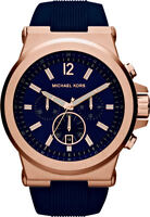 Michael Kors MK8295 Rose Gold Dylan Chronograph Navy Dial Silicone Unisex Watch