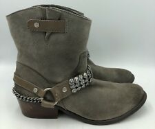 Gianni Bini Gray Suede Pull On Western Ankle Boots Womens Size 9M