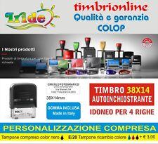 Timbro Autoinchiostrante Automatico completo + logo 38X14 COLOP C20
