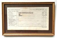 Original Framed Document, 1804 CHELSEA, MASSACHUSETTS TOLL BRIDGE Daily Receipts