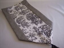"53"" BLACK ON WHITE~WAVERLY Rustic Toile/CHECK~Lined Tablerunner With Tassels!!"