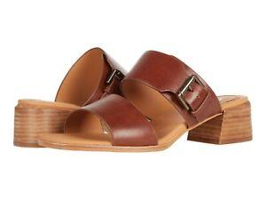 Women's Shoes Clarks LANDRA 35 Leather Slip On Open Toe Mule 57842 DARK TAN