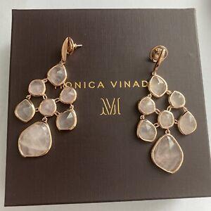 Monica Vinader rose gold siren rose quartz chandelier cocktail earrings RRP £375