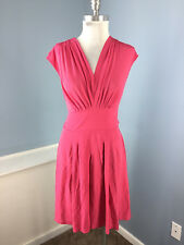 Lil Anthropologie XS Pink Silk Dress Pleated A Line Career Cocktail Excellent