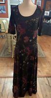 NWT LuLaRoe Ana Knit Maxi Dress XL Multi-Colored Flowers On A Black Background!