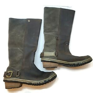 Sorel Womens Brown Knee High Suede Wrap Heel Boots Size 6 Rubber Outdoor Neutral