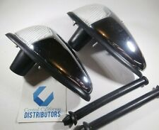 1958-1963 VW BUG FRONT TURN SIGNAL ASSEMBLY SET LEFT & RIGHT CHROME CLEAR LENS