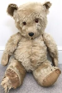"""Large Antique Chiltern Blonde Mohair Jointed Teddy Bear British Needs TLC 24"""""""