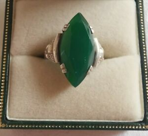 Vintage Sterling Silver Jade Ring, Size L
