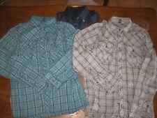 lot de 3 Chemises: 2 à carreaux- Divided + 1 satiné bleu marine - M