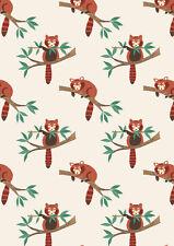 Cuarto gordo Panda Rojo Sobre Natural 100% Algodón Acolchado Tela Lewis Y Irene